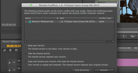 S01E01 adobe anywhere resolve conflicts question 1
