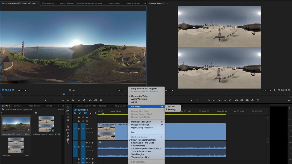 VR features inside the planned Summer 2016 release of Adobe Premiere Pro.