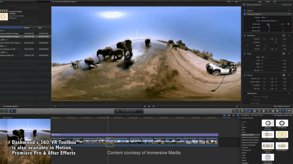 Dashwood 360/VR Toolbox, shown inside FCP X.