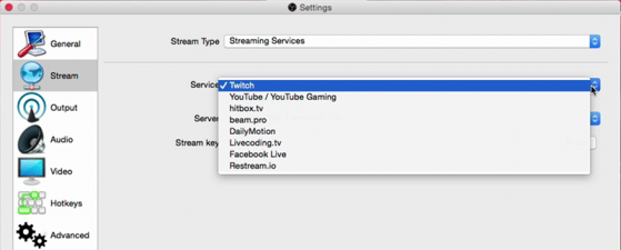 Streaming destinations inside OBS
