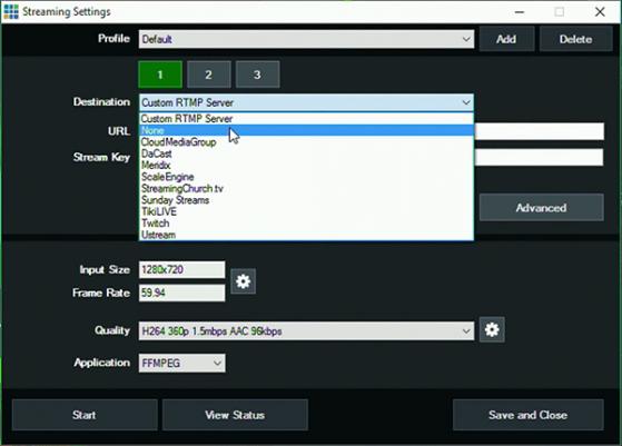 Streaming destinations inside vMix