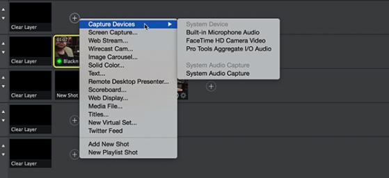 I/O options inside Wirecast