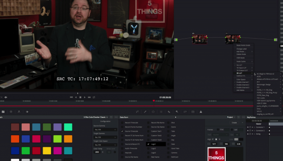 Common onset and post transcoding: Blackmagic Resolve, adding a timecode window burn, a watermark, and a LUT.