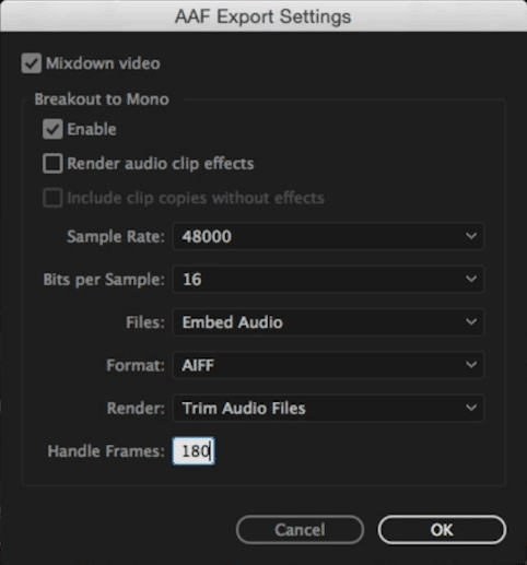 AAF export settings with 5 second handles in Premiere Pro.