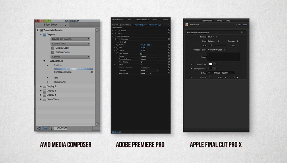 Timecode filters and effects in Avid, Premiere, and FCP X