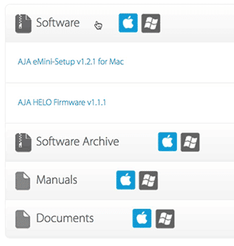 Download the latest firmware and utilities for your Helo at https://www.aja.com/products/helo#support