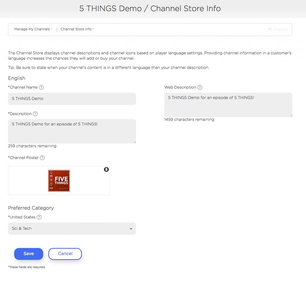 roku channel store info