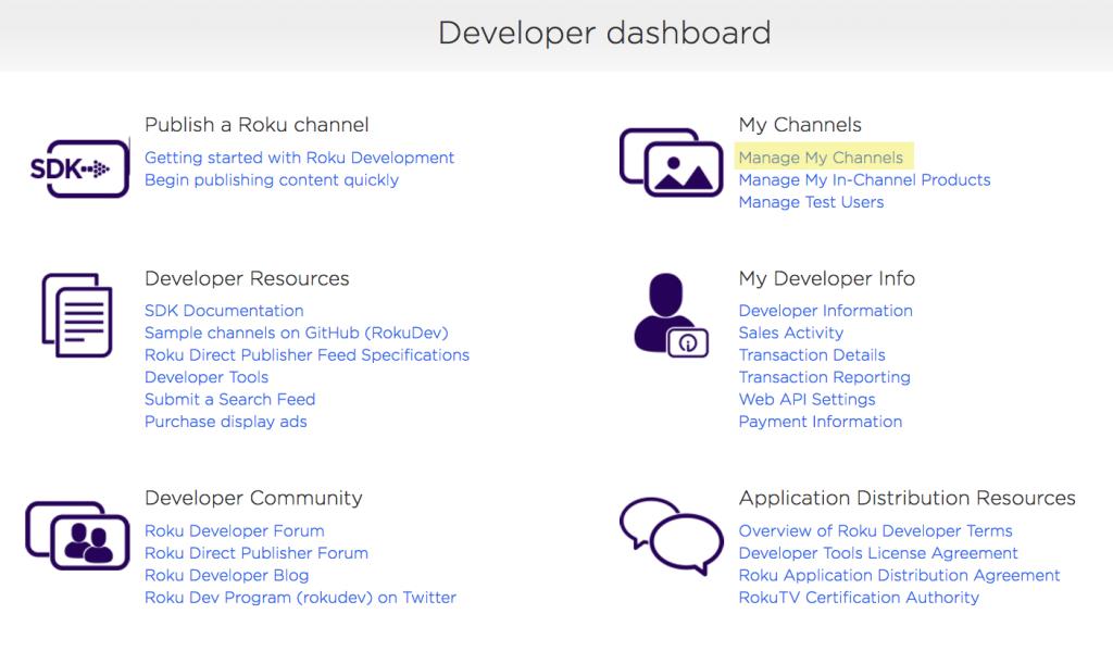 roku developer dashboard manage channels