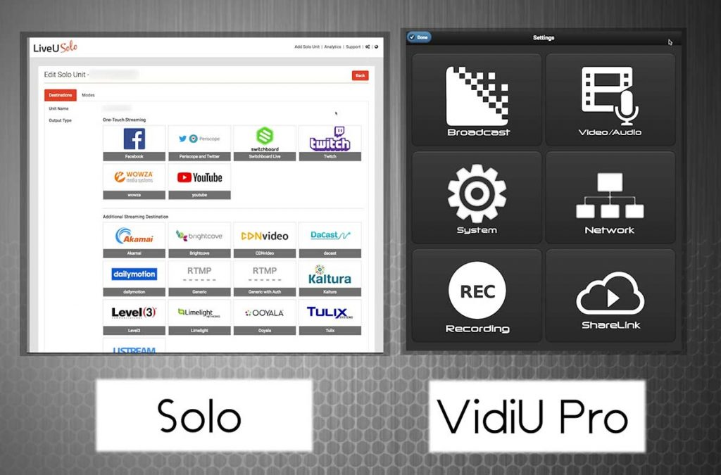 LiveU-Solo-vs-Teradek-VidiU-Pro-web-control