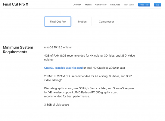 apple fcpx system requirements 11/2018